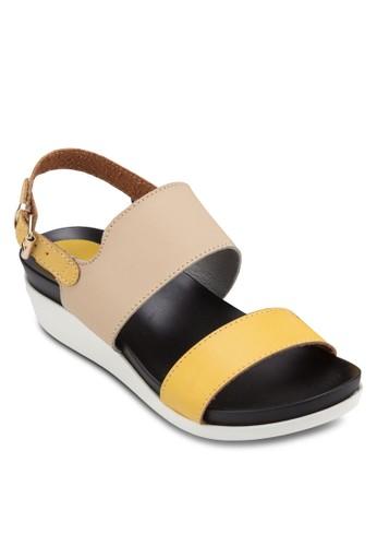 拼色踝zalora 心得帶厚底涼鞋, 女鞋, 涼鞋