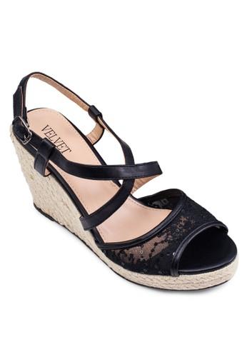 繡花zalora 心得麻編船跟鞋, 女鞋, 楔形涼鞋