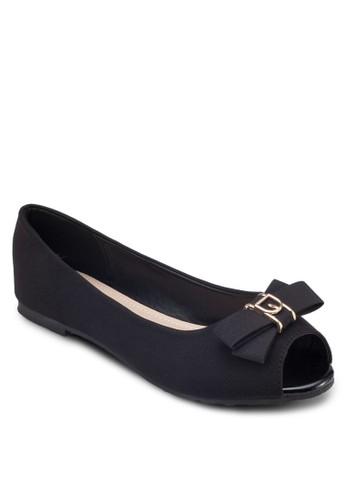 露趾蝴蝶結平底鞋, zalora 台灣女鞋, 鞋