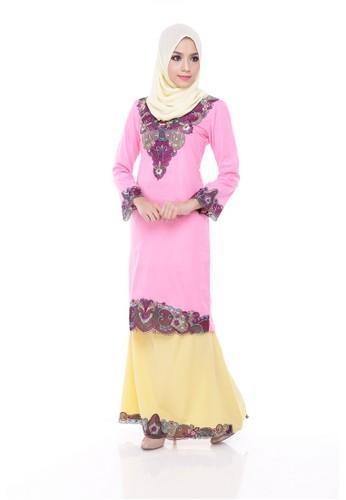 KURUNG MODERN ARINA-Pink Cotton Candy from Maribeli Butik in Pink and Yellow