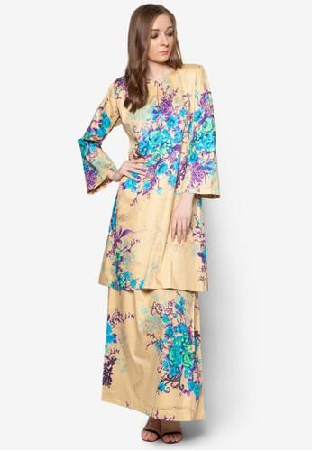 Baju Kurung Pahang Japanese Cotton from Butik Sireh Pinang in Yellow and Multi