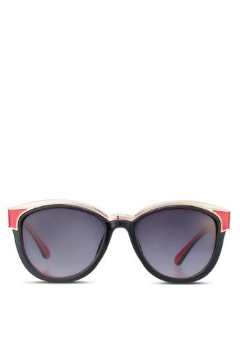 金邊紅黑貓眼眶太陽眼鏡, 飾品配zalora 台灣件, 飾品配件