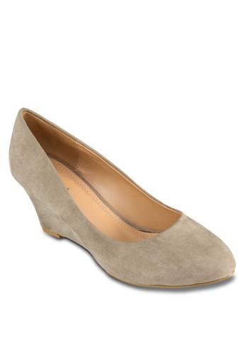 麂zalora 泳衣皮楔形跟鞋, 女鞋, 厚底楔形鞋