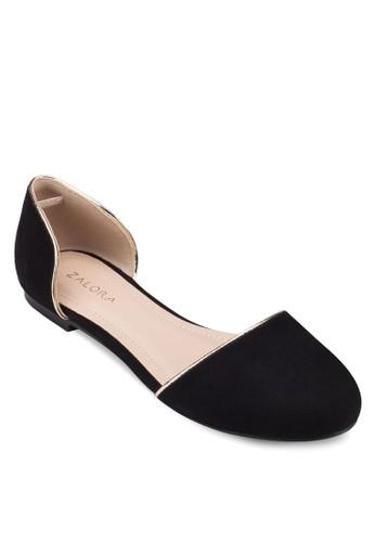 金屬滾邊側鏤zalora 心得空平底鞋, 女鞋, 芭蕾平底鞋