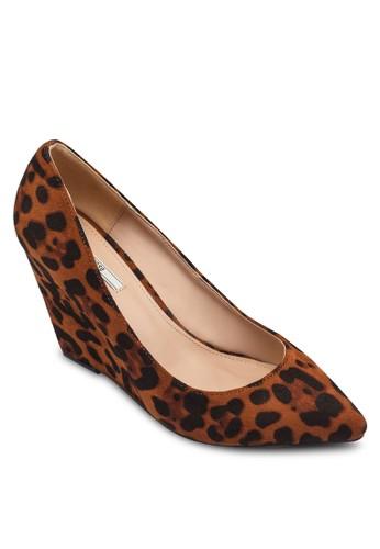 印花楔形跟zalora時尚購物網評價尖頭鞋, 女鞋, 鞋