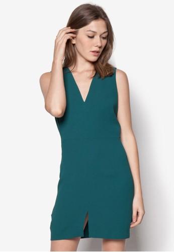 前開衩低胸洋裝, 服zalora退貨飾, 服飾