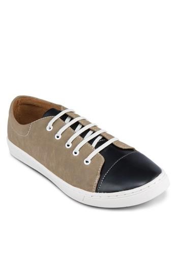 雙色仿皮繫帶運動鞋, 鞋, zalora鞋休閒鞋