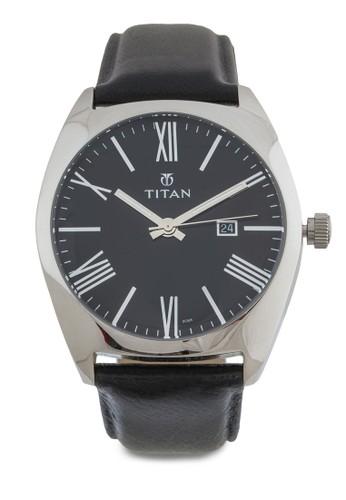 羅馬數字不銹鋼皮革錶, 錶類,zalora時尚購物網的koumi koumi 皮革錶帶