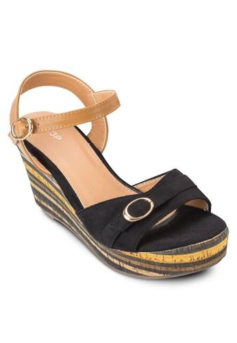 條紋厚底楔型涼鞋, 女鞋, 楔形zalora鞋涼鞋
