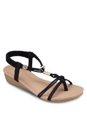 金飾彈性繞踝楔型跟涼鞋, zalora 男鞋 評價女鞋, 鞋