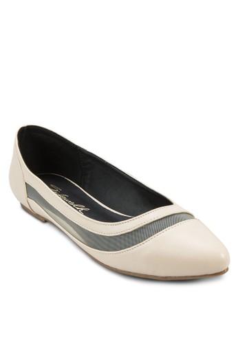 網眼拼接尖頭平底鞋, 女鞋, 芭蕾平底zalora鞋子評價鞋