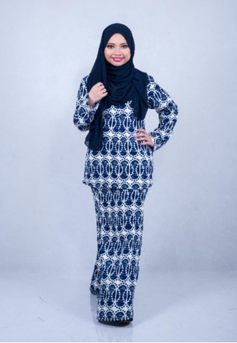 Fateema Printed Kurung Modern Premium from Adia Design in White and Navy