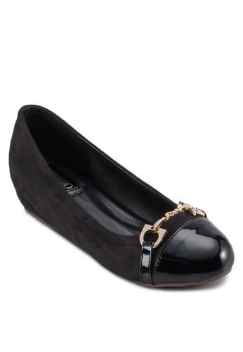 飾帶拼接內增高娃娃鞋, zalora 評價女鞋, 芭蕾平底鞋