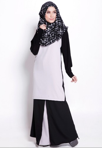 Zahra Kurung Moden from Marwa in Black and Grey