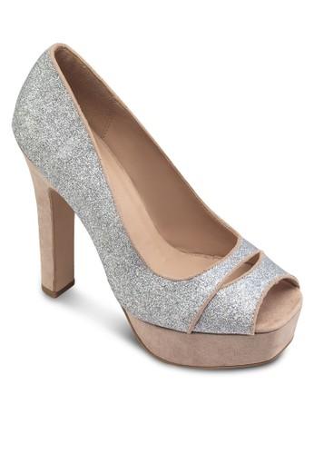 閃飾魚口厚底高跟鞋, 女鞋, 魚口zalora 衣服尺寸鞋