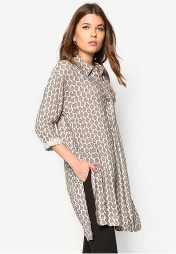 側mango門市開衩印花長袖襯衫, 服飾, 服飾