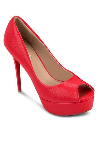 亮面露趾厚底高跟鞋, 女鞋zalora 台灣, 鞋