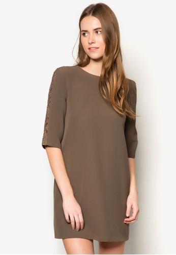 蕾絲拼袖挖背zalora 男鞋 評價連身裙, 服飾, 洋裝