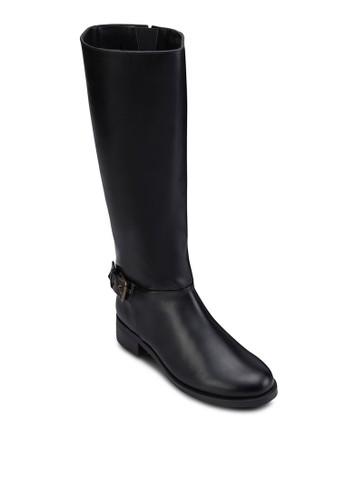 仿皮扣環粗跟高筒靴, 女鞋,zalora 衣服評價 鞋