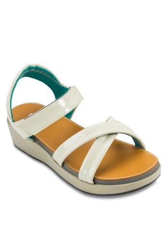 交叉帶繞踝厚底涼鞋zalora 心得, 女鞋, 楔形涼鞋