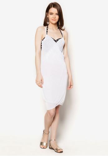 Mira 裹飾大zalora 鞋評價挖背沙灘連身裙, 服飾, 女性服飾