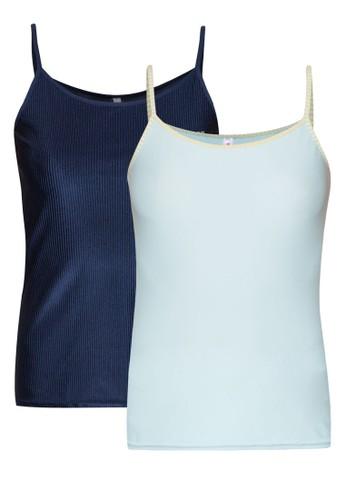 二入素色條zalora 鞋評價紋背心, 服飾, 睡衣