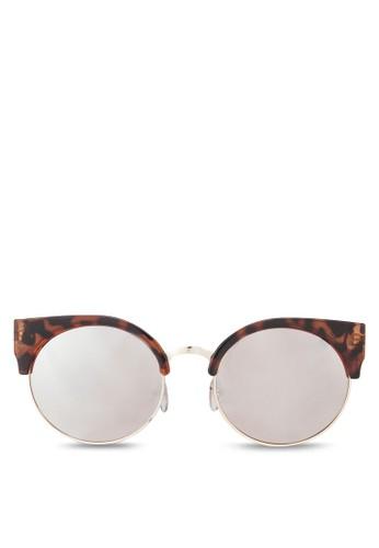 豹紋zalora 台灣門市半圓框太陽眼鏡, 飾品配件, 飾品配件