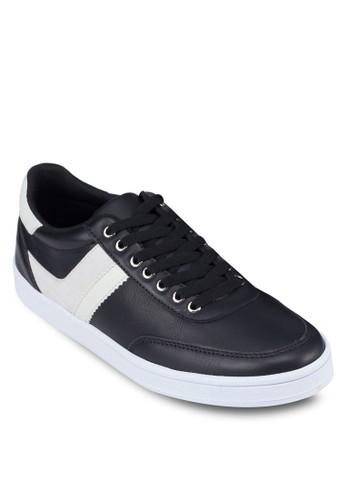 撞色仿皮繫帶運動鞋,zalora退貨 鞋, 休閒鞋