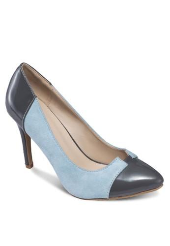 撞色拼接尖頭zalora 心得高跟鞋, 女鞋, 鞋