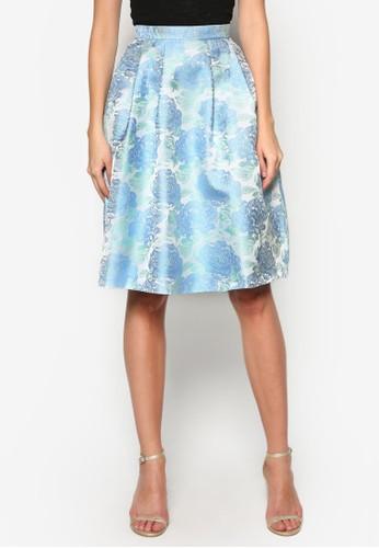 提花褶飾圓擺裙,zalora 評價 服飾, 裙子