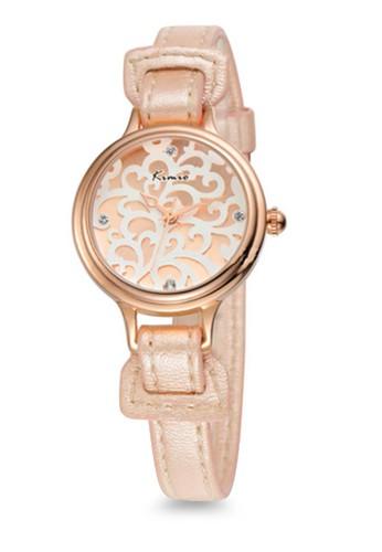 Eyki Kimio Kw541zalora 包包 pttS 壓紋界面皮革圓錶, 錶類, 時尚型