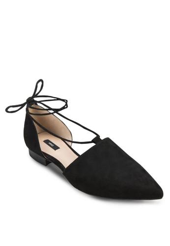 尖頭繫帶平zalora 評價底鞋, 女鞋, 鞋