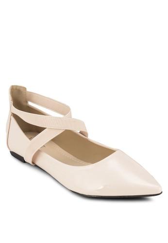 Sabrina 尖頭交叉踝帶平底鞋zalora時尚購物網的koumi koumi, 女鞋, 鞋