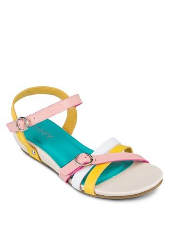 多色繞踝平底zalora 心得涼鞋, 女鞋, 涼鞋