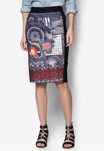 Tracery 印花拼接及膝短裙, 服飾, zalora 鞋評價及膝裙