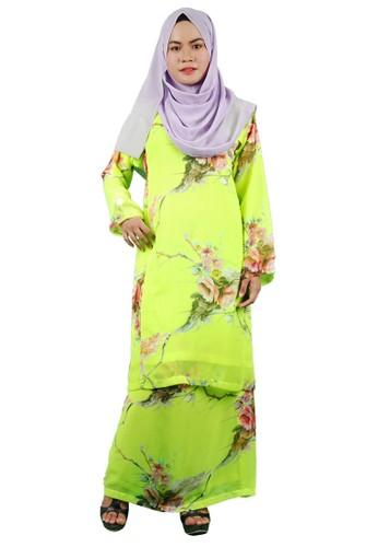 Baju Kurung Pesak from Delimamoda in Yellow and Green