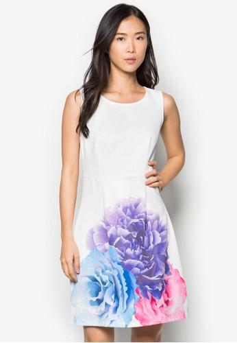 Vivian 彩色花卉連身裙, 服飾, zalora鞋服飾