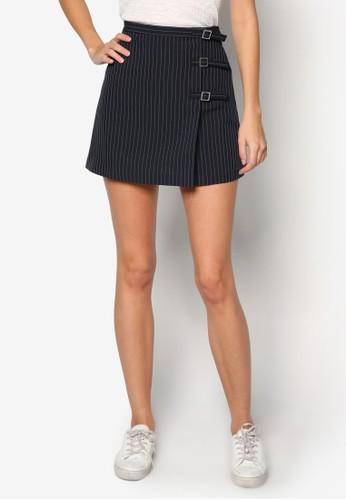 條紋扣飾短裙,top shop代購 服飾, 迷你裙