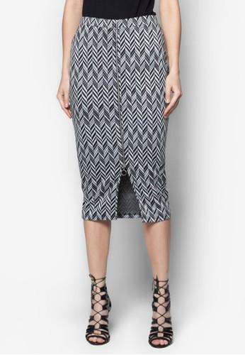 印花拉鍊及膝短裙, 服飾, 及zalora退貨膝裙