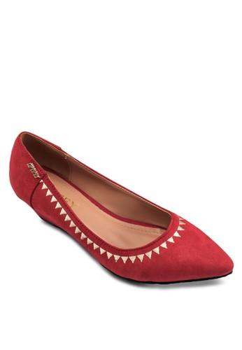 刺繡邊飾迷你楔形跟鞋, 女鞋zalora鞋子評價, 鞋