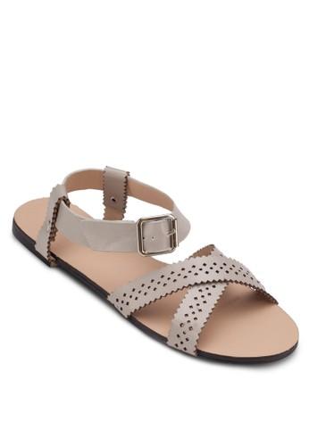 雕花交叉帶繞踝zalora 心得涼鞋, 女鞋, 涼鞋