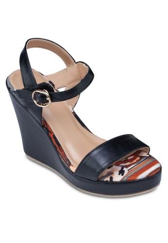 一字帶繞踝印花楔形zalora 台灣門市鞋, 女鞋, 高跟