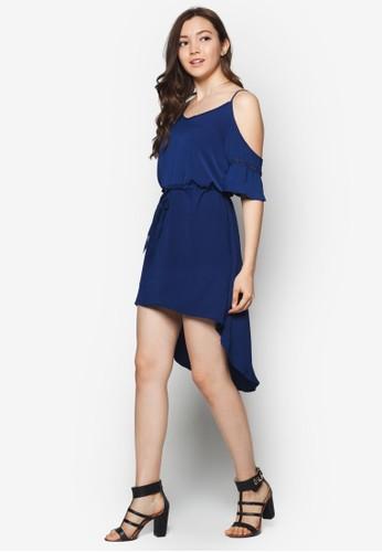 挖肩設zalora 台灣門市計前短後長洋裝, 服飾, 洋裝