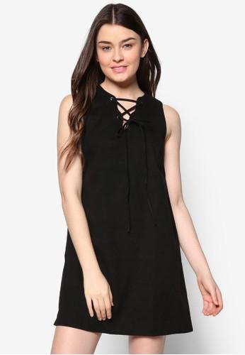 穿孔繫帶仿麂皮連身裙, 服飾, zalora退貨服飾