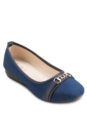 鏈飾方頭平底鞋, 女鞋, zalora 包包 ptt芭蕾平底鞋
