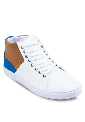 三色拼接高筒運動鞋zalora時尚購物網的koumi koumi, 鞋, 休閒鞋