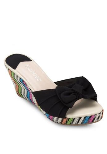 蝴蝶結編織楔形涼鞋, 女鞋, 楔zalora 內衣形涼鞋