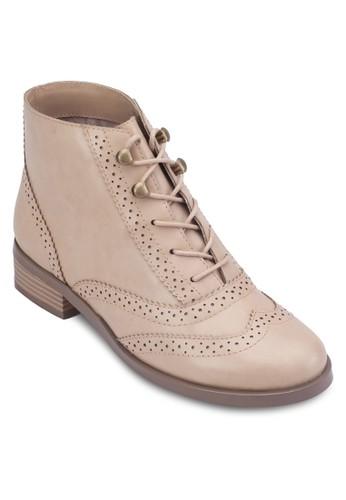 zalora 泳衣雕花孟克踝靴, 女鞋, 靴子