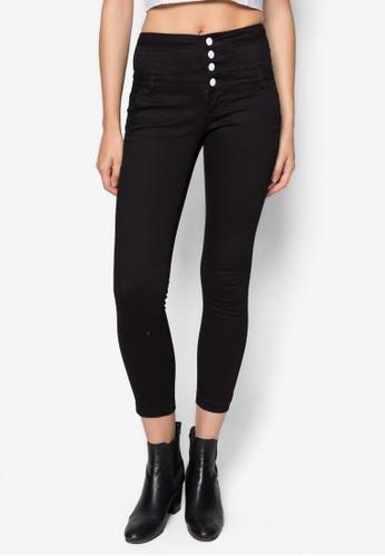 單排zalora時尚購物網的koumi koumi扣高腰窄管長褲, 服飾, 服飾