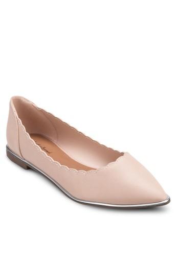花邊尖頭平底鞋,zalora 順豐 女鞋, 芭蕾平底鞋